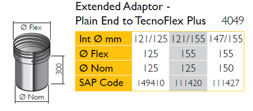 Extended Adaptor - Plain End to Tecnoflex Plus