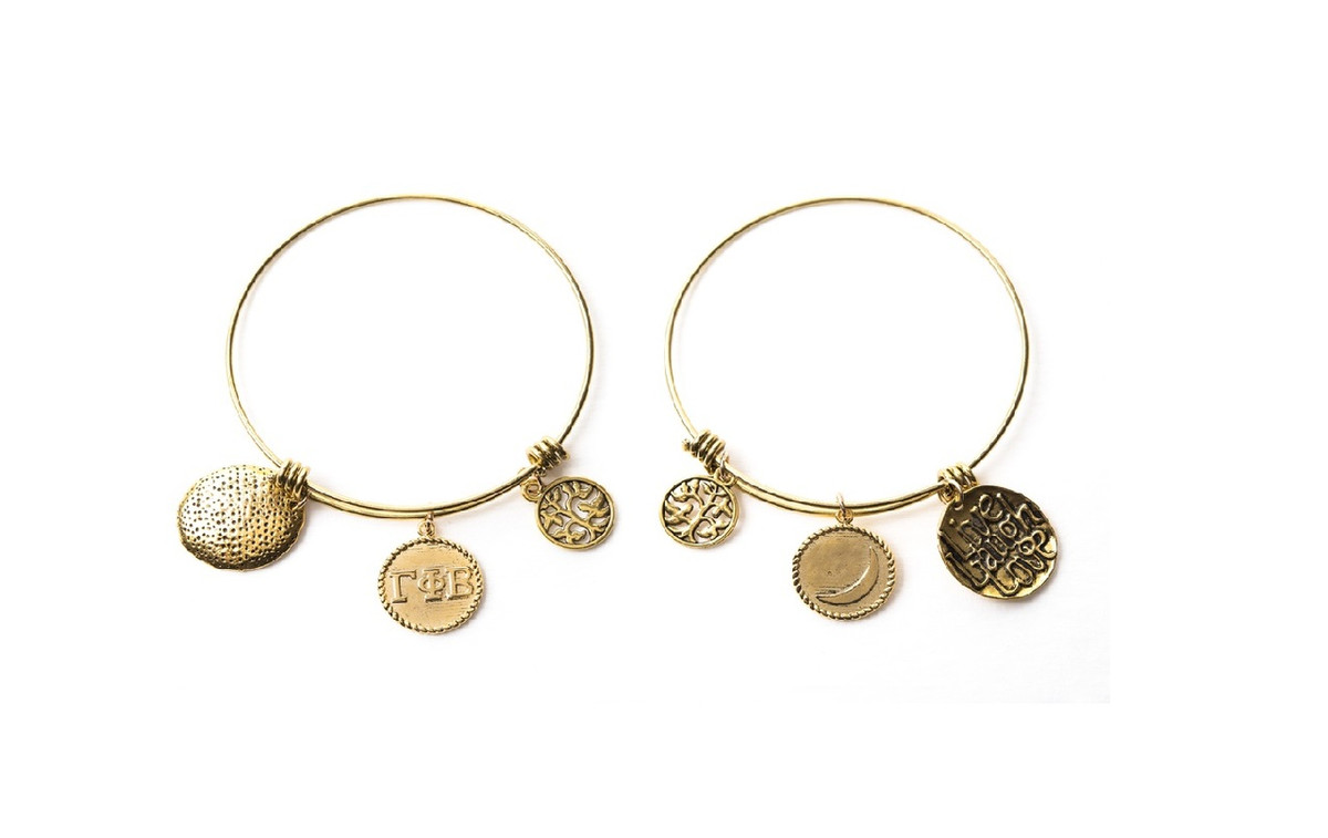 Gamma Phi Beta Expandable Wire Bangle Bracelet - Yellow Gold Plated