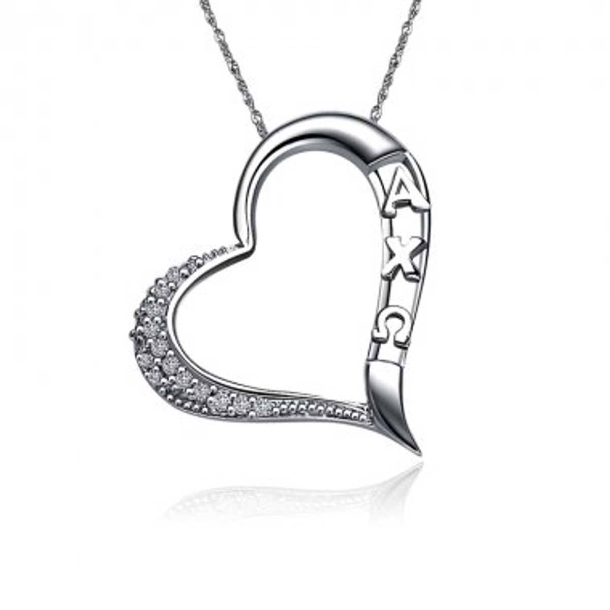Alpha Chi Omega Embedded Heart Silver Lavalier (ACO-P008)