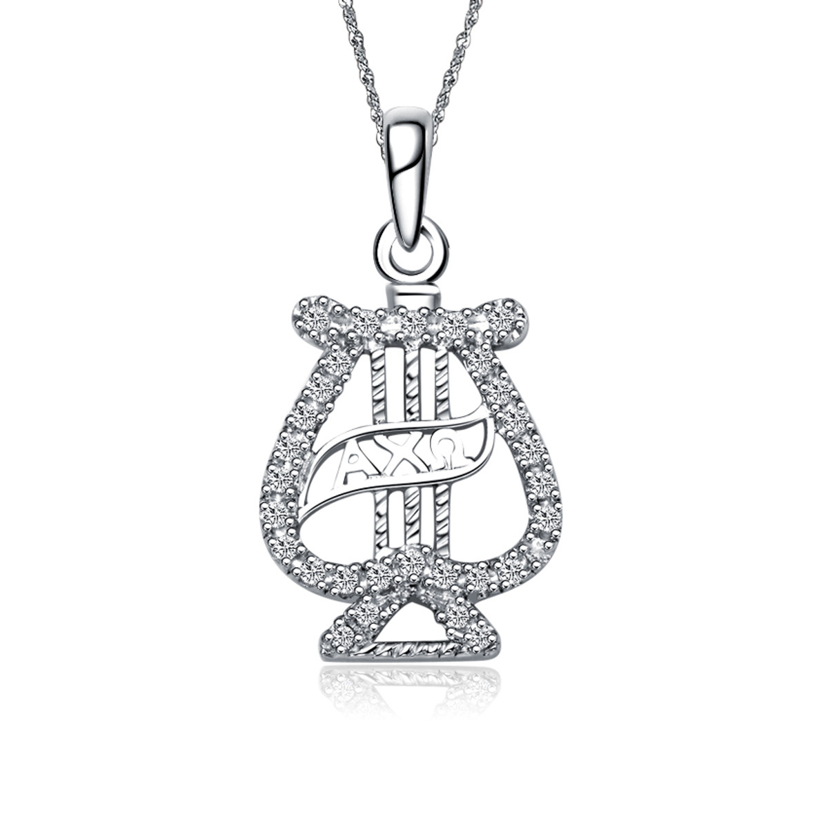 Alpha Chi Omega Lyre Silver Lavalier