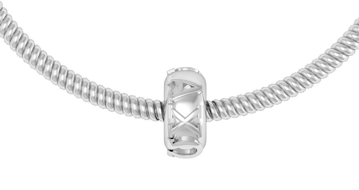 Alpha Chi Omega Expandable Wire Bangle Bracelet - White Gold Plated