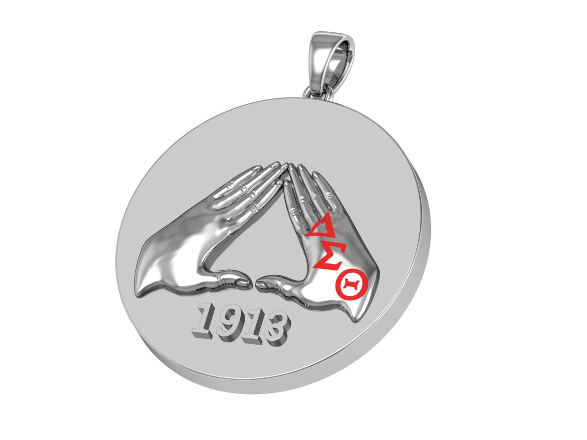 Delta Sigma Theta Sterling Silver Circle Pendant Hand Sign 1913 - DSTP005S