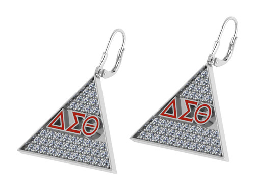 Delta Sigma Theta Triangle Earrings with Stones-DSTE005SW