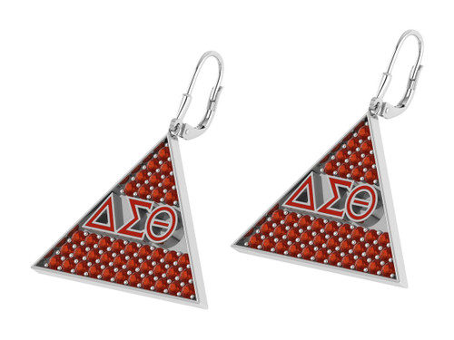 Delta Sigma Theta Triangle Earrings with Stones-DSTE006SW