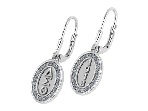 Delta Sigma Theta Oval Earrings with Stones-DSTE009SW