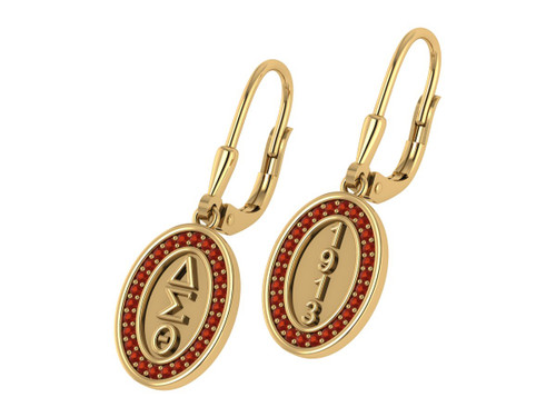 Delta Sigma Theta Oval Earrings with Stones-DSTE010YW