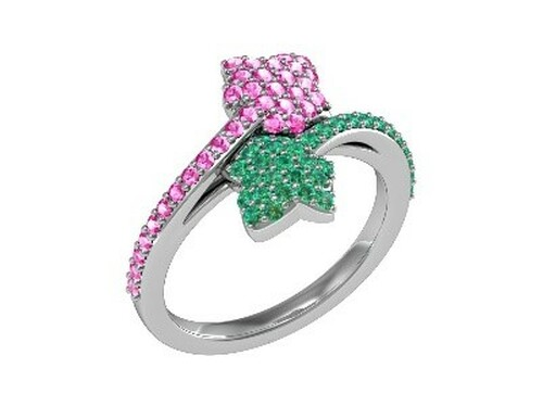 ALPHA KAPPA ALPHA BY PASS RING WITH PINK AND GREEN STONE SILVER