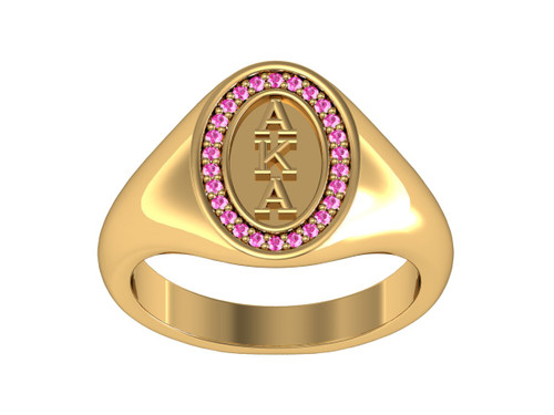Alpha Kappa Alpha Classic Oval Silver Ring with Yellow Gold Plated