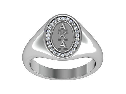 Alpha Kappa Alpha Classic Oval Silver Ring with white Gold Plated