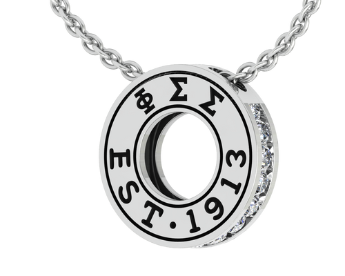Phi Sigma Sigma Eternity Silver Charm Lavalier  (PSS-P003)