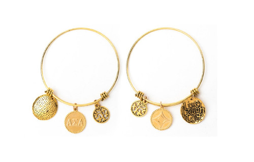 Alpha Sigma Alpha Expandable Wire Bangle Bracelet - Yellow Gold Plated