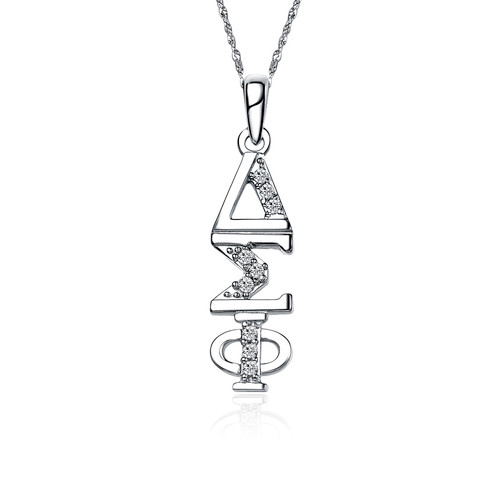 Delta Sigma Phi Sweet Heart Vertical Silver Lavalier (DSP-P001)