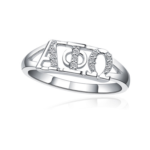 Alpha Phi Omega Horizontal Silver Ring