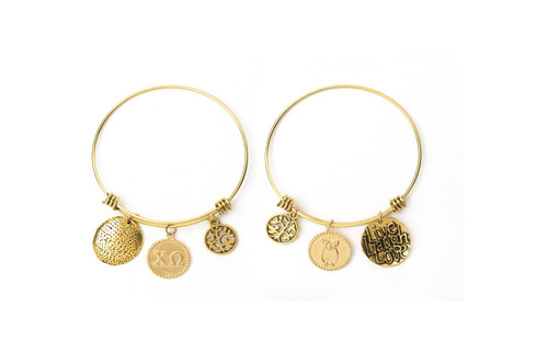 Chi Omega Expandable Wire Bangle Bracelet - Yellow Gold Plated