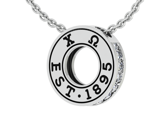 Chi Omega Eternity Silver Charm Lavalier