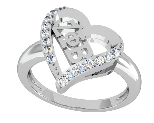Zeta Phi Beta Silver Heart Ring (ZPB-R002)