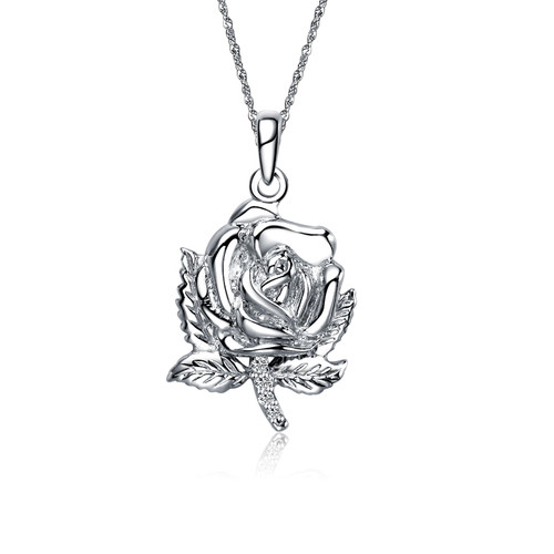 Alpha Omicron Pi Rose Silver Lavalier 2