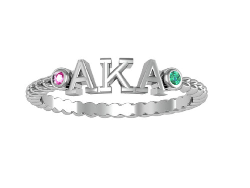 Alpha Kappa Alpha Classic Letter Silver Ring