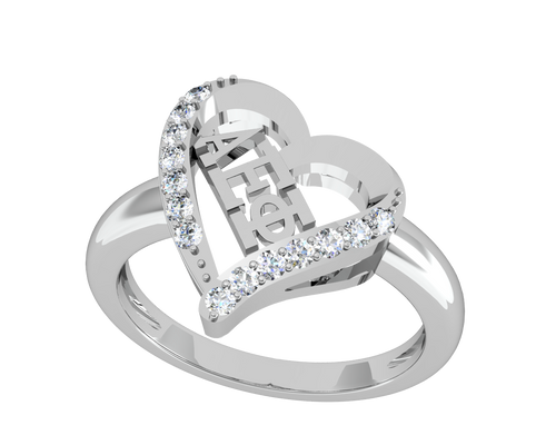 Alpha Epsilon Phi Heart Silver Ring (R002)