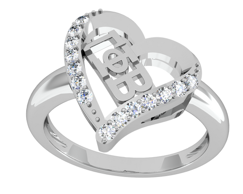 Gamma Phi Beta Heart Silver Ring (GPB-R002)