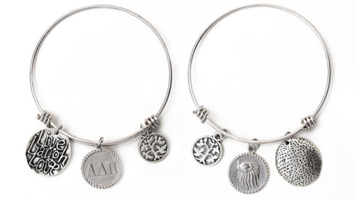 Alpha Delta Pi Expandable Wire Bangle Bracelet - White Gold Plated