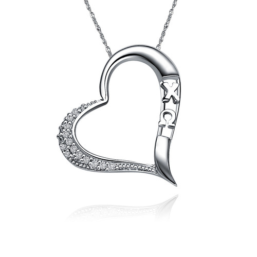 Chi Omega Embedded Heart Silver Lavalier