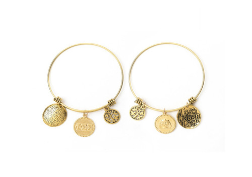 Phi Sigma Sigma Expandable Wire Bangle Bracelet - Yellow Gold Plated