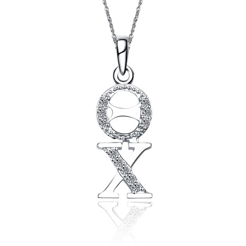 Theta Chi Sweet Heart Vertical Silver lavalier (TC-P001)