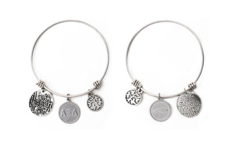 Alpha Xi Delta Expandable Wire Bangle Bracelet - White Gold Plated