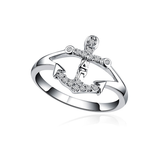 Delta Gamma Anchor Silver Ring (R003)