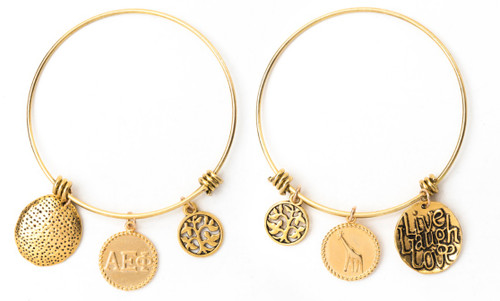 Alpha Epsilon Phi Expandable Wire Bangle Bracelet - Yellow Gold Plated