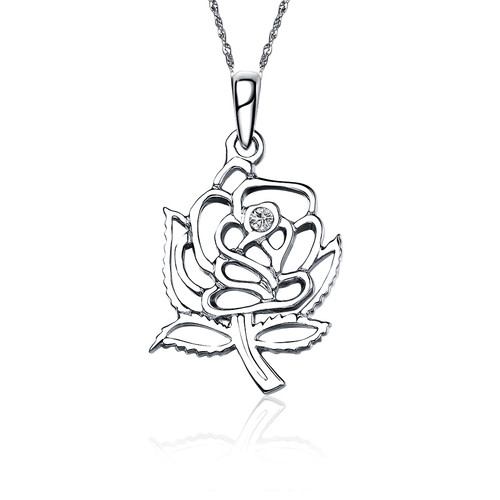 Alpha Omicron Pi Rose Silver Lavalier 1