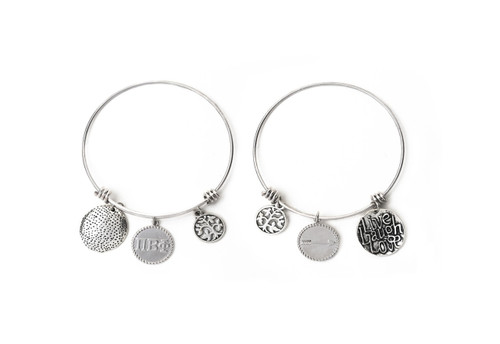 Pi Beta Phi Expandable Wire Bangle Bracelet - White Gold Plated