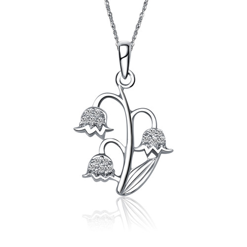 Alpha Espilon Phi Lily of the Valley Silver Lavalier (M008)