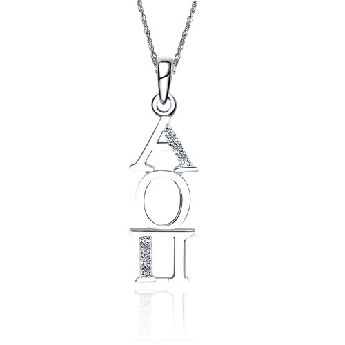 Alpha Omicron Pi Vertical Silver Lavalier 1