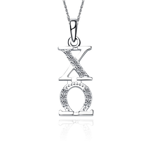 Chi Omega Vertical Silver Lavalier 1