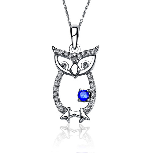 Chi Omega Owl Silver Lavalier (M025)