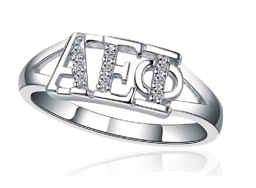 Alpha Epsilon Phi Horizontal Silver Ring (R001)