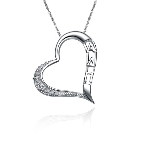 Alpha Delta Pi Embedded Heart Silver Necklace (ADP-P005)