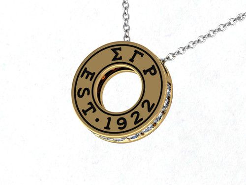Sigma Gamma Rho Eternity Silver Pendant with Crystal