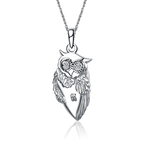 Chi Omega Owl Silver Lavalier (M015)