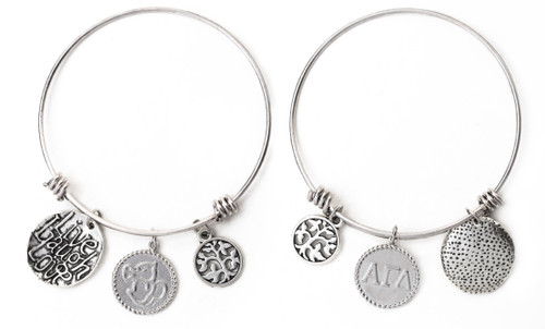 Alpha Gamma Delta Expandable Wire Bangle Bracelet - White Gold Plated