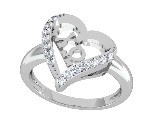 Chi Omega Heart Silver Ring