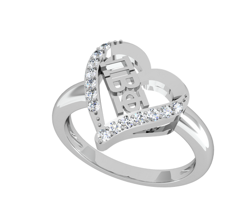 Pi Beta Phi Heart Silver Ring (R002)
