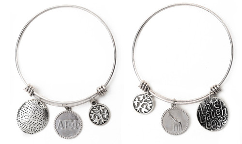 Alpha Epsilon Phi Expandable Wire Bangle Bracelet - White Gold Plated