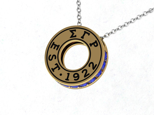 Sigma Gamma Rho Eternity Silver Pendant with Green Crystal