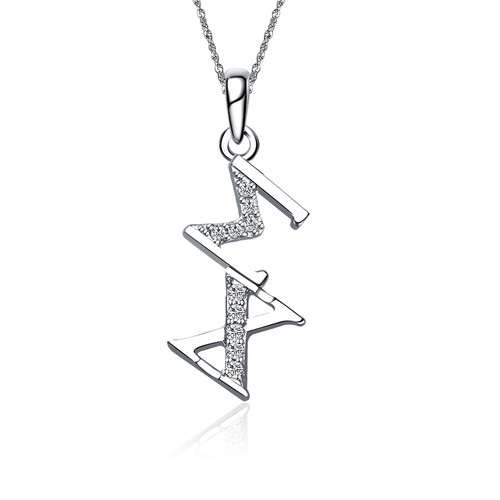 Sigma Chi Sweet Heart Diagonal Silver Lavalier (SC-P002)
