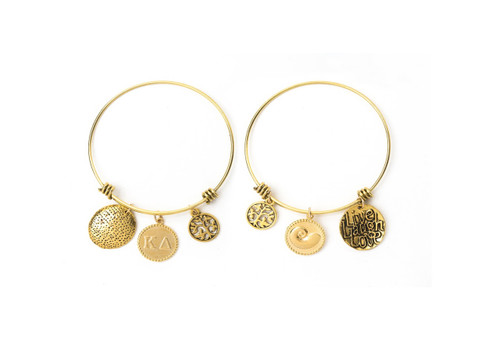 Kappa Delta Expandable Wire Bangle Bracelet - Yellow Gold Plated