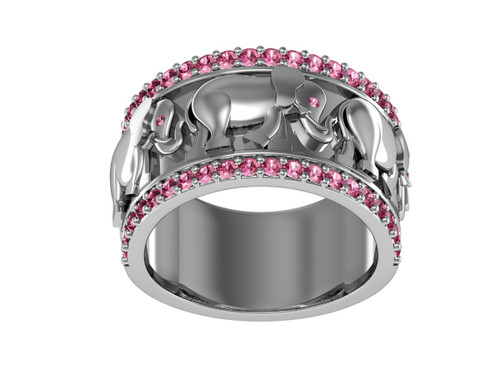 Delta Sigma Theta Sterling Silver Elephant Ring with Stones - DSTR005SR