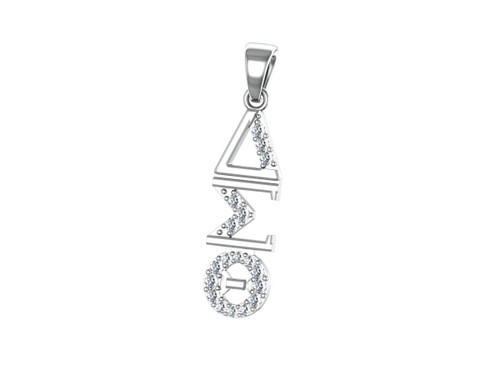 Delta Sigma Theta Sterling Silver Diagonal Pendant with Stones- DSTP007SW